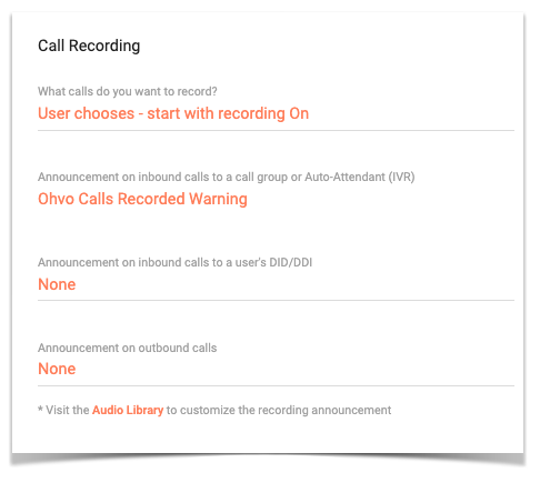 Call recording options