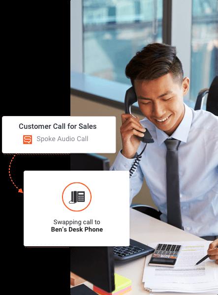 swap calls to deskphone